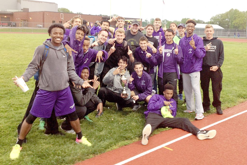 Mascoutah boys track team display the Silver Division Trophy won at the 2017 Military Classic last Friday.  Submitted photo