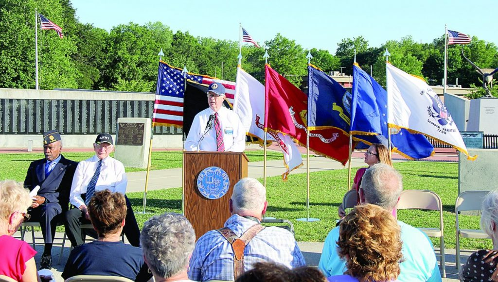Pictured is Keynote speaker Dr. Dee Boswell addressing the crowd during the Veterans Celebration.