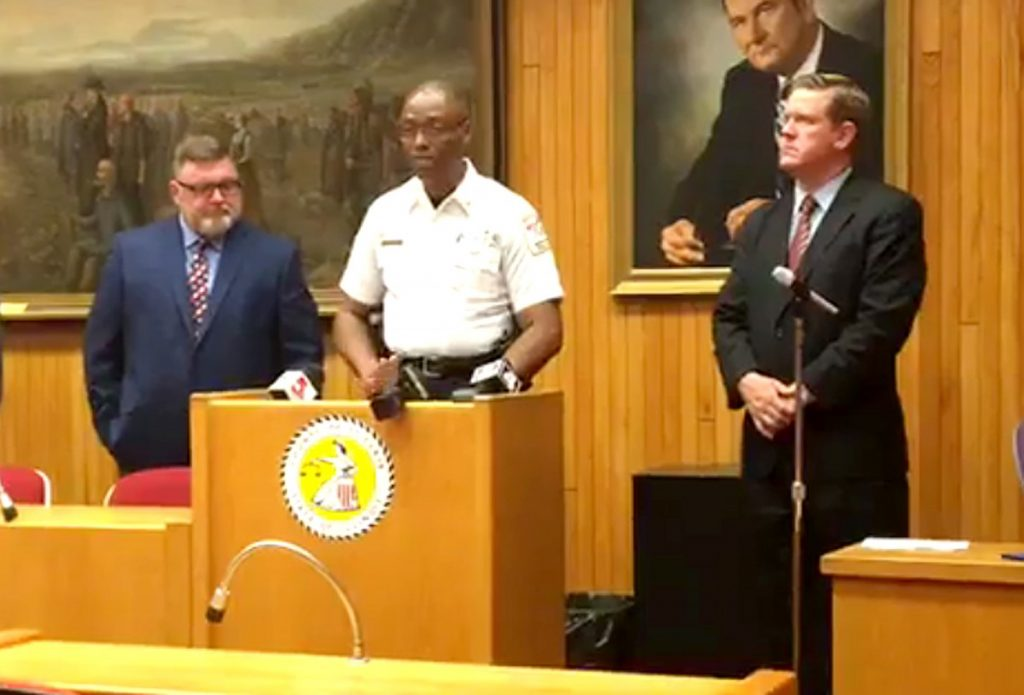 A press conference was held Thursday, May 24, regarding felony charges against an 18-year old.  Pictured are Belleville Township School District Superintendent Dr. Jeff Dosier, Belleville Police Chief Bill Clay, and St. Clair County State's Attorney Brendan Kelly.