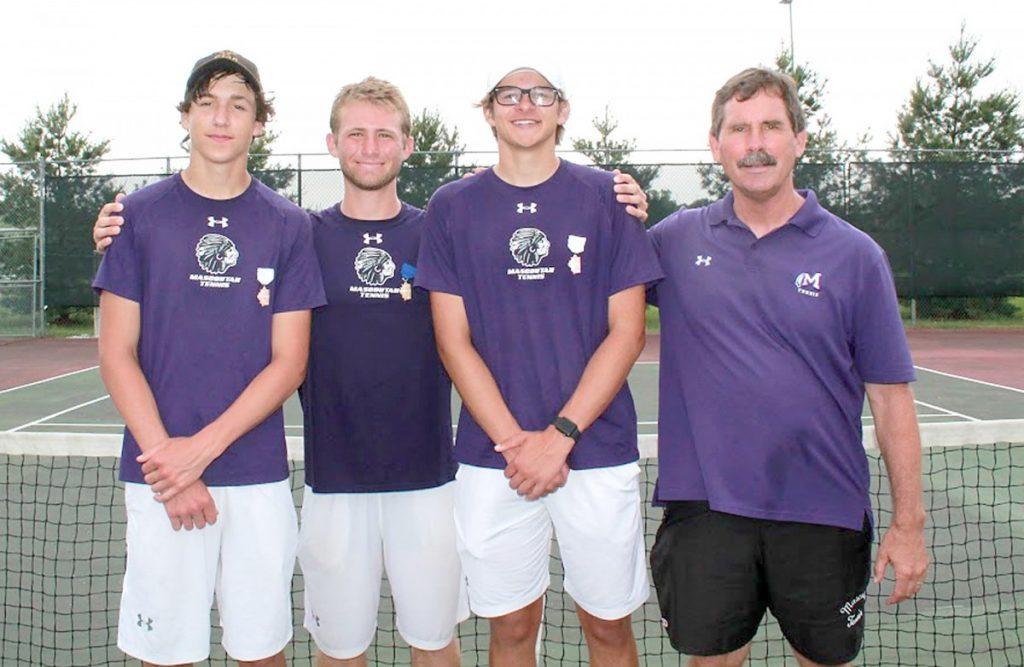 MHS Tennis players, Shawn Wienstroer, Andy Graf, and Cameron Pavelschak qualified for this week's 1A State Tournament. Coach Sam Graf will enjoy another trip to Chicago. Submitted photo