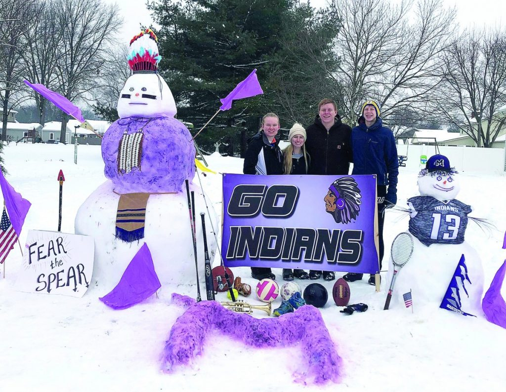 The Norrenberns family took up the spur-of-the-moment challenge made by Mascoutah High School Athletic Director Scott Battas asking residents to build their best snowman using a Mascoutah school theme.  The winter storm had canceled all school games and tournaments, so Battas took the opportunity to make the storm fun for students stuck at home.  Submitted photo