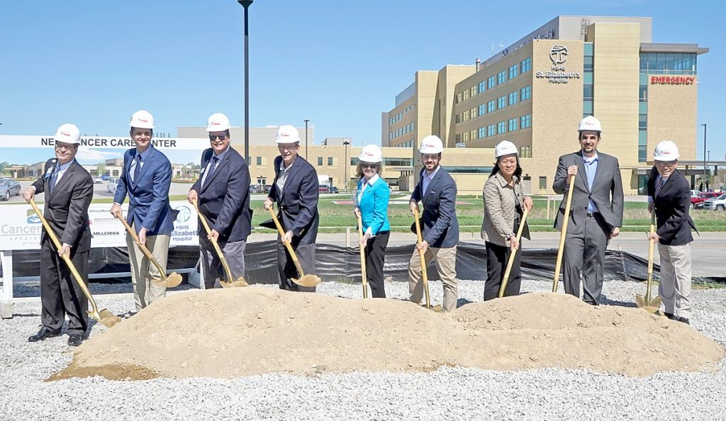Ground was officially broken for Cancer Care Speicalists of Southern Illinois and HSHS St. Elizabeth's Hospital's comprehensive cance care center in O'Fallon, Illinois on April 12, 2019. Pictured from left to right are James Dover, president and CEO of HSHS Southern Illinois Division, Dr. Justin Floyd, Sid LeGrand, president of the O'Fallon-Shiloh Chamber of Commerce, City of O'Fallon Mayor Herb Roach, Patti Fischer, president and CEO of HSHS St. Elizabeth's Hospital, Dr. Mark Walshauser, Dr. Mary Ann de Paz, Dr. Bassam Maalouf and Dr. Benjamin Esparaz.