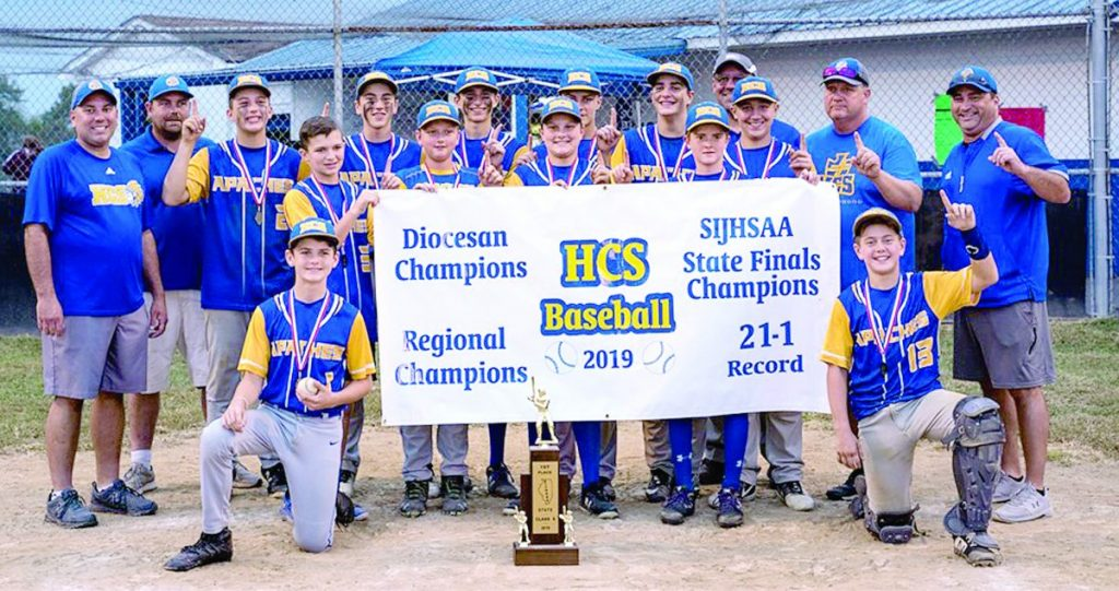 The Holy Childhood School 8th grade baseball team dominated the 2019 season with a title win in the SIJHSAA State Tournament on October 10. Photo by Lori Brady of BradyCrew Photography