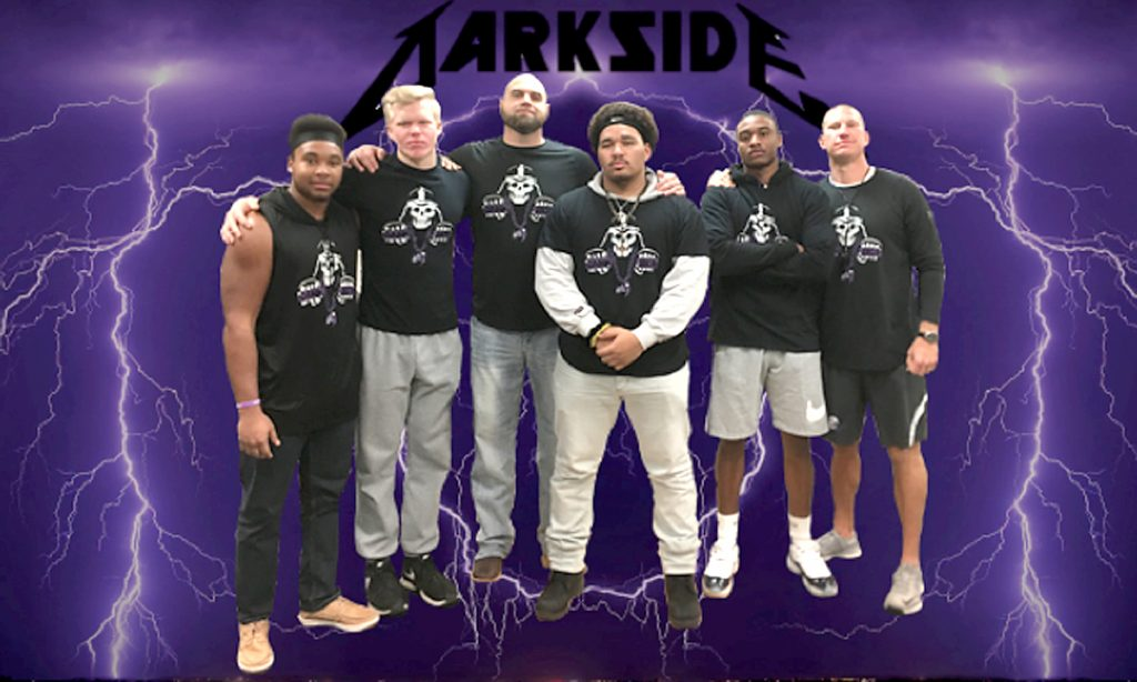 Graduating Dark Siders in 2018 from left to right: Dejahn Tyson, Isaac Beck, Coach Troy Medvick, Bobby Moore Jr., Malik Green, Coach Josh Lee. Photo courtesy of Troy Medvick.