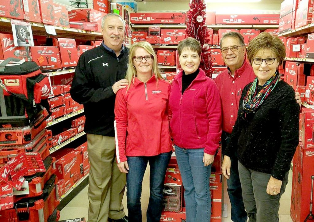 Pictured is: Tim Baynes, Vice President of Retail Sales for Milwaukee Tool, and Sheryl Plocher, Stephanie Tonnies, Steve Tonnies & Susan Tonnies in the Milwaukee Tool department at Tonnies Hardware & Rental in Albers.