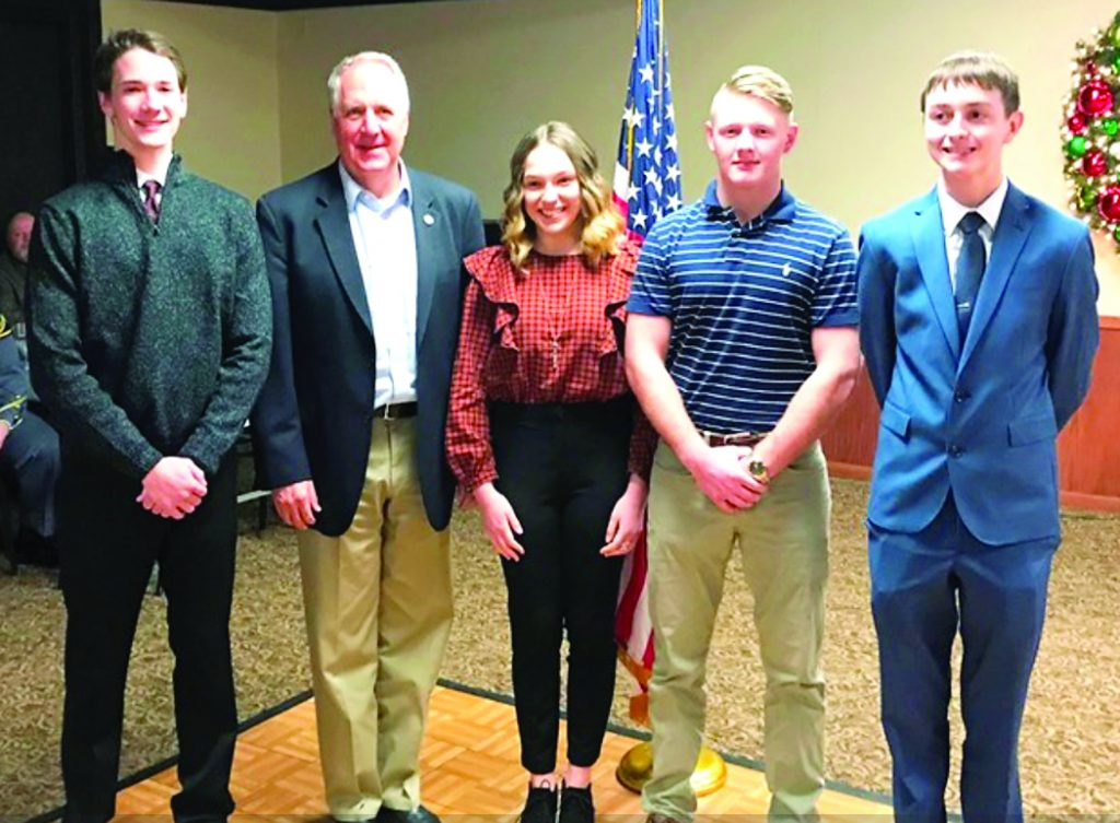 Among the students receiving an academy nomination from Congressman John Shimkus (second from left) are (left to right) Garrett Bakarich of Triad High School (U.S. Merchant Marine Academy), Denise D'Antonio of Triad High School (U.S. Air Force Academy), Andrew McElligott of Triad High School (U.S. Air Force Academy), and Ryan Clancy of Mater Dei Catholic High School (U.S. Naval Academy).