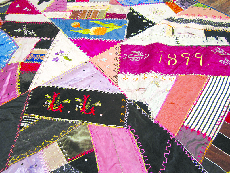 This crazy quilt was hand-stitched by Lizzie Liebig, a Mascoutah resident, in 1899. Visit the Heritage Museum for a close-up view of her creativity with color and the breadth of her embroidery skills. Submitted photo