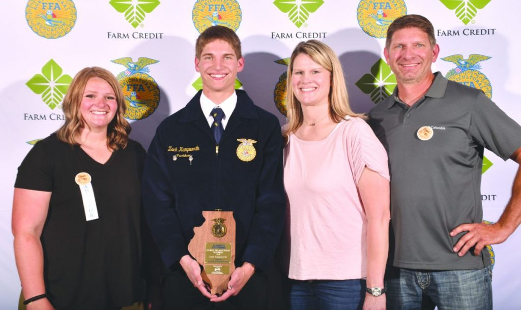 The Swine Production Placement State Proficiency Winner was Zach Kampwerth of Central Breese. Pictured are (L-R) Harley Carlson, advisor; Zach Kampwerth, recipient;and his parents Tanya Kampwerth and Matt Kampwerth.