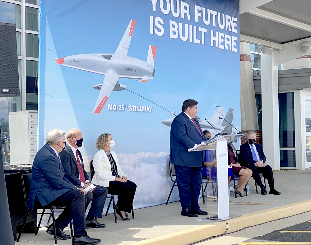 Governor JB Pritzker announces new Boeing facility at a press conference held at MidAmerica Airport.
